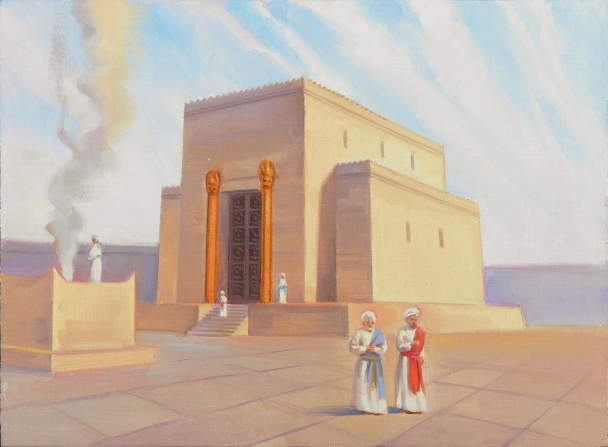 A rendering of the ancient temple of Zerubbabel with people walking near the entrance.