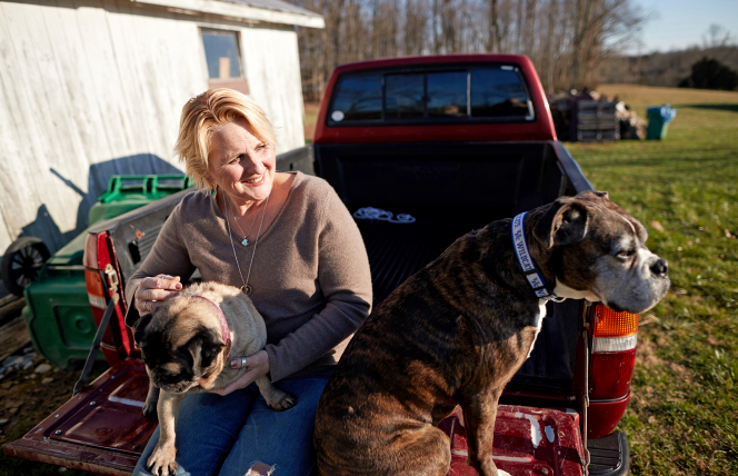 Shelly with her dogs