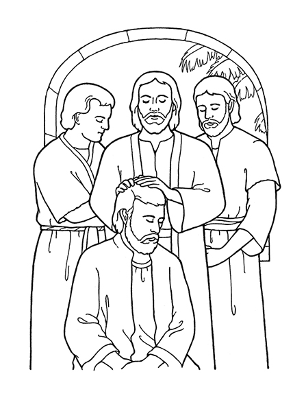 A black-and-white illustration of Christ ordaining his Apostles as He organized the Church when He was on the earth.