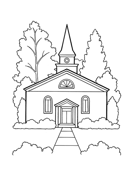 A black-and-white illustration of a church building with trees in the background.