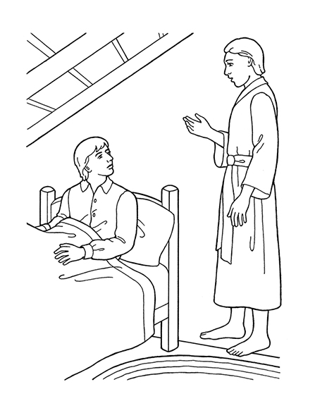 A black-and-white illustration of the angel Moroni appearing at the bedside of young Joseph Smith.