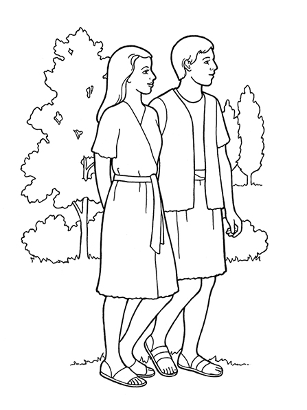 A black-and-white illustration of Adam and Eve in the Garden of Eden, with trees and bushes in the background.