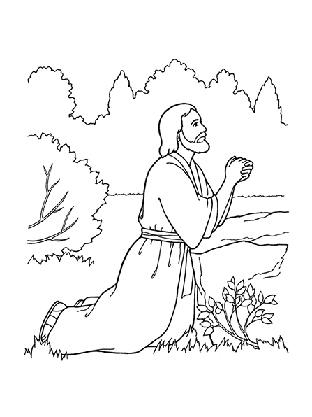 A black-and-white illustration of Jesus Christ kneeling and praying in the Garden of Gethsemane.