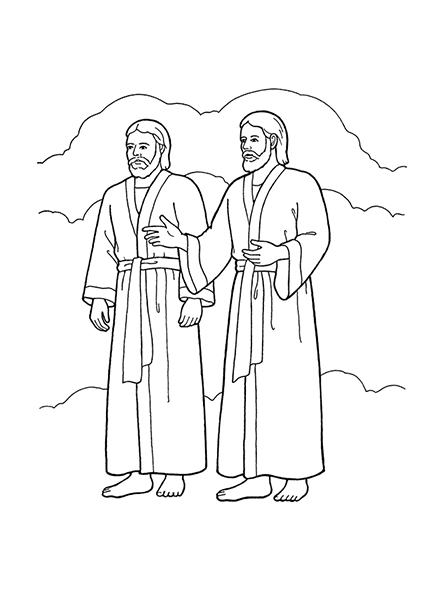 A black-and-white illustration of Heavenly Father and Jesus Christ, wearing robes, standing side-by-side with hands outstretched.