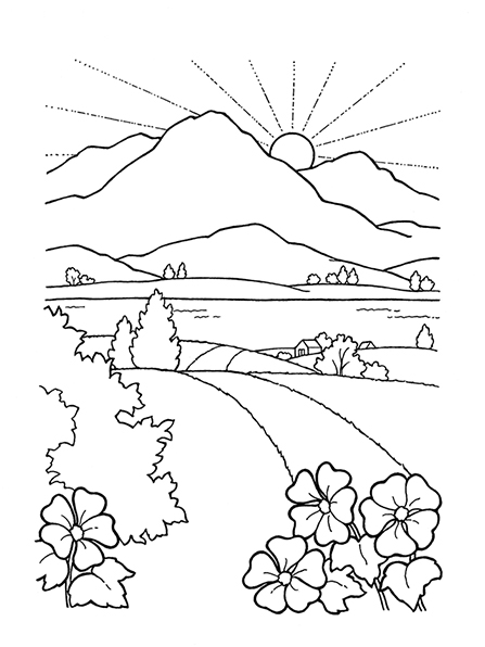 A black-and-white illustration of the sun rising over the mountains near a beautiful landscape with rolling hills and trees.