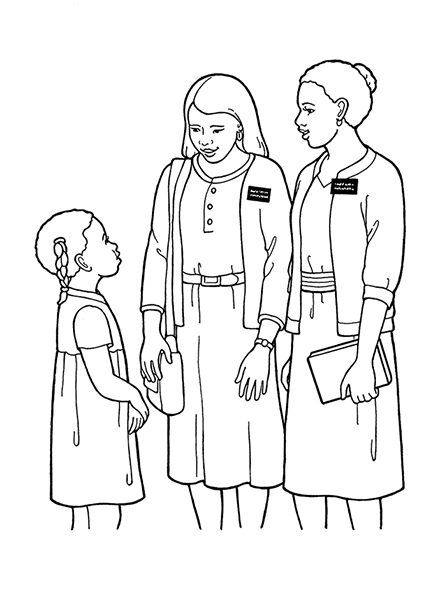 A black-and-white illustration of two female missionaries wearing skirts,  sweaters, and name badges, talking to a young girl.