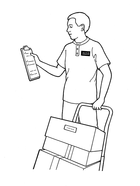 A black-and-white illustration of a young man wearing a missionary badge on a T-shirt, holding a clipboard, and pulling a dolly stacked with boxes.