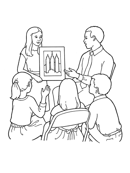 A black-and-white illustration of a male teacher and a female teacher showing a Primary class of three children a picture of the Salt Lake Temple.