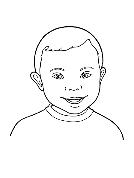 A black-and-white illustration of a young boy with Down syndrome smiling and wearing a simple T-shirt.