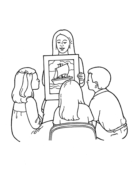 A black-and-white illustration of a Primary teacher showing a picture of a boat to three children.