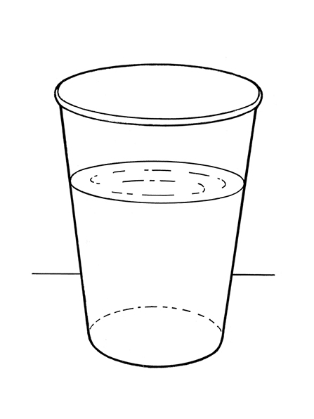 A black-and-white illustration of a glass two-thirds full of water sitting on a table or ledge.