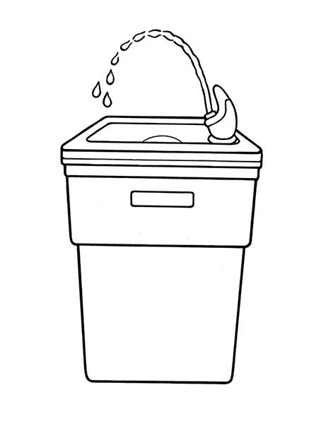 A black-and-white illustration of a drinking fountain with a jet of water coming out of the nozzle.