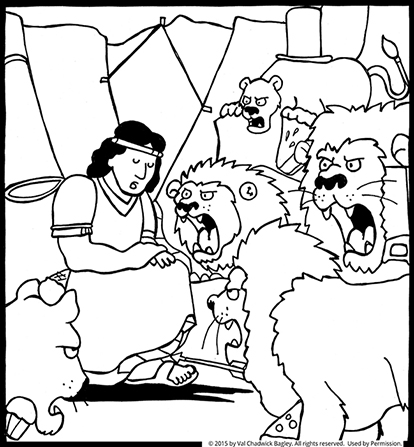 A coloring page of Daniel sitting down in a den, surrounded by five lions with open mouths.