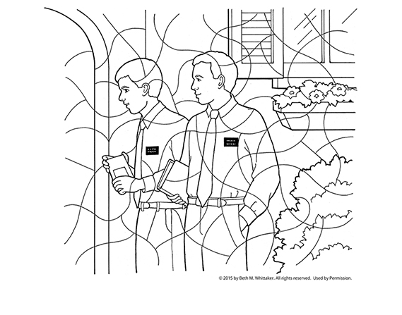 A black-and-white coloring page of two elder missionaries standing and holding scriptures outside a house door.