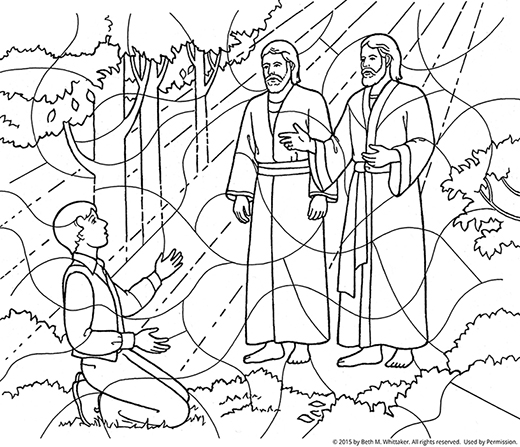 A black-and-white coloring page of Joseph Smith kneeling in the Sacred Grove and Heavenly Father and Jesus Christ appearing to him.