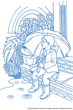 A line drawing of a boy holding an umbrella while sitting on steps, with a rainbow in the background and objects hidden throughout.
