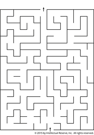 A simple black-and-white line maze with an arrow at the bottom to start and an arrow at the top to end.
