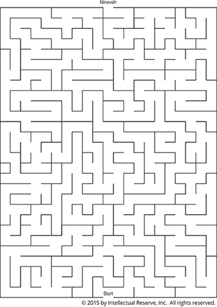 """A black-and-white line maze with the start at the bottom of the page and the destination, marked """"Nineveh,"""" at the top."""