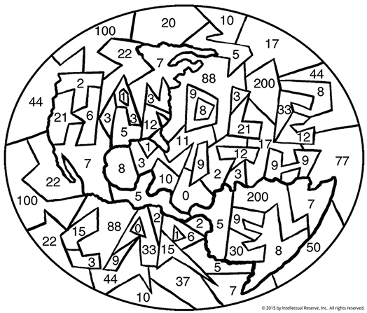 Find a hidden phrase by coloring each puzzle piece according to its number in the center of a world globe.