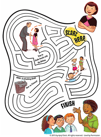 A girl folding her arms at the top of the maze and reverently doing activities on her way to Primary at the bottom of the maze.