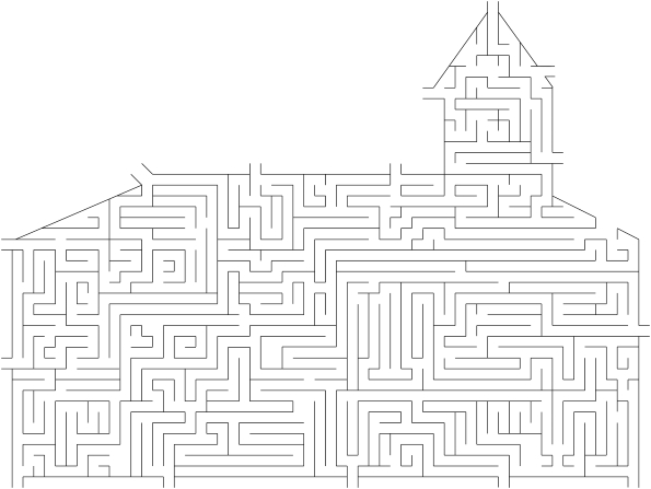 Multiple entrances and exits to guide children through a large maze in the shape of a church.