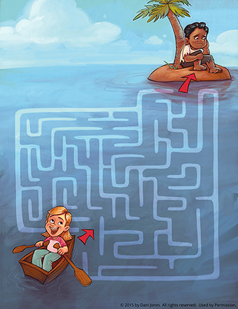 A girl sitting in a rowboat in the ocean and starting a maze at the bottom of the page, heading toward a boy stranded on an island at the top of the page.
