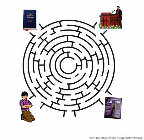 A maze with four entrances or exits illustrated with a Book of Mormon, a boy praying, a Liahona, and a man speaking at a pulpit.