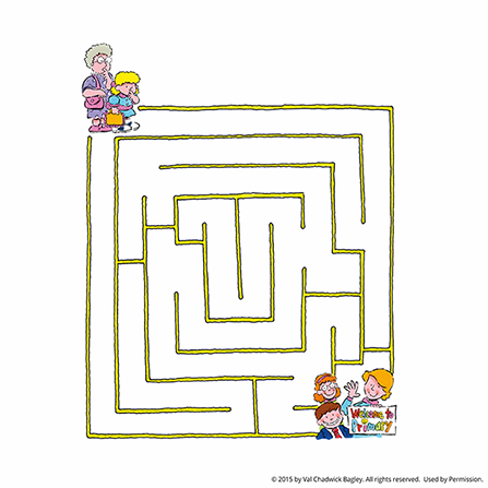 "A maze with a grandma and granddaughter starting at the top and making it to the ""Welcome to Primary"" sign at the bottom of the page."