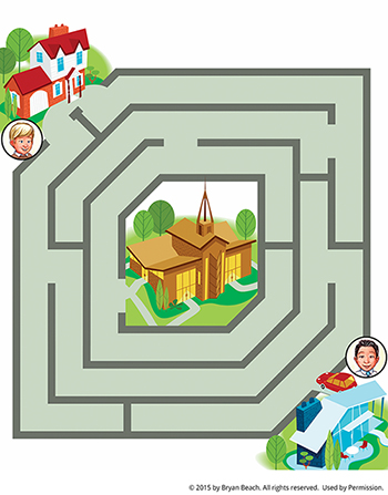 A boy at his home at the top of the page, heading to a brown church in the center of the maze.