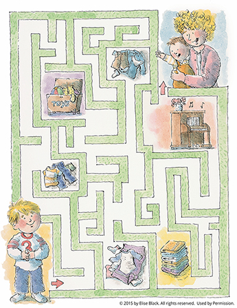 A boy starting at the bottom of the page and walking through a maze of household objects to his mom and younger brother at the top of the page.