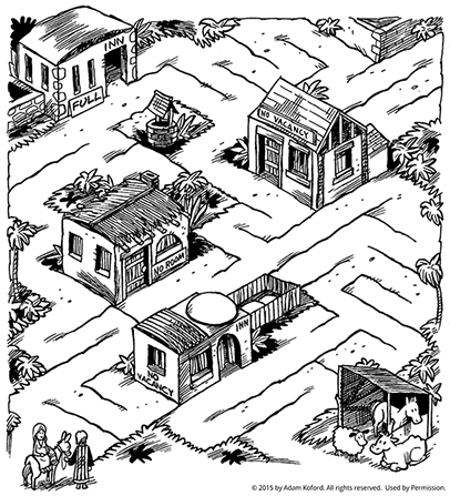 A maze with Mary and Joseph finding their way through Bethlehem with no vacant inns, heading to the stable.
