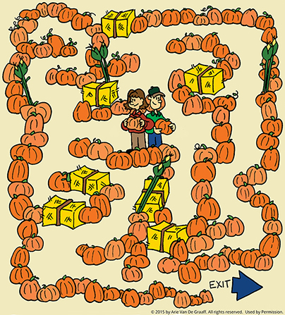 A pumpkin-patch maze with two people standing back to back in the middle, with the exit at the bottom of the page.