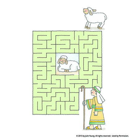 A maze starting with a shepherd boy holding a staff, leading to a white sheep in the middle of the maze.