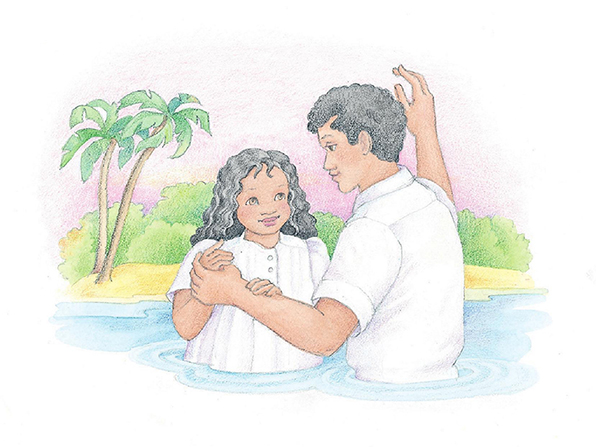 A watercolor illustration of a man baptizing his daughter in a river.