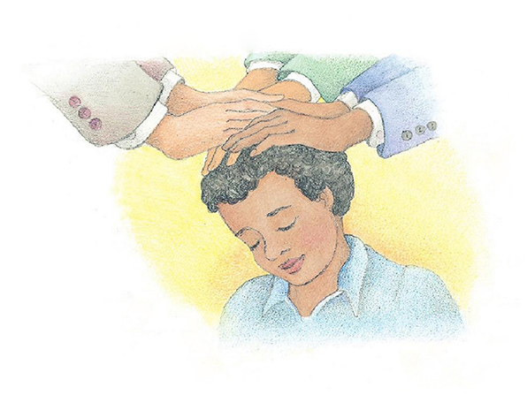 A watercolor illustration of a boy with black hair, with three pairs of hands laid on his head, confirming him a member of the Church.