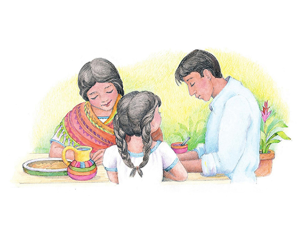 A watercolor illustration of a family sitting down to eat and bowing their heads in prayer over their food.