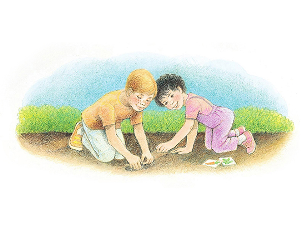 A watercolor illustration of a boy and a girl kneeling in dirt, planting carrot seeds in a small hole.