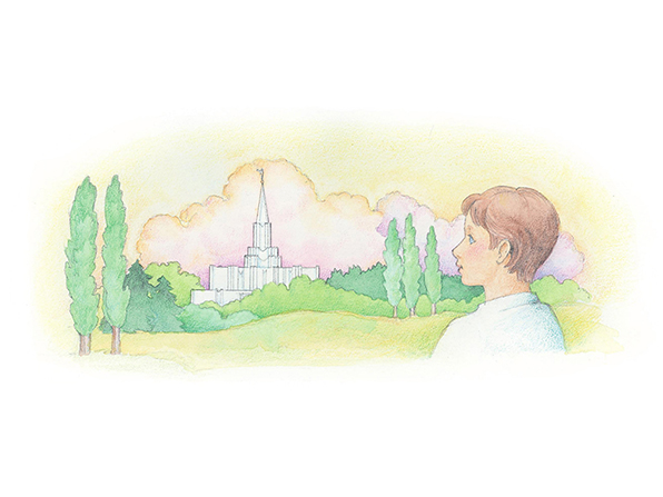 A watercolor illustration of a boy looking over a meadow toward the spire of a temple rising over the trees.