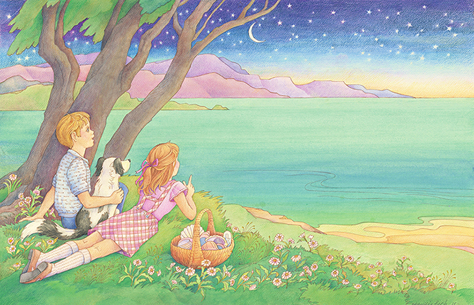 A watercolor illustration of a young boy, a young girl, and a black and white dog lying on a bank of grass overlooking the sea, with the moon and stars beyond.
