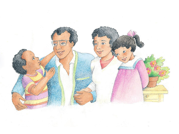 A watercolor illustration of a mother and father talking to their young son and daughter.