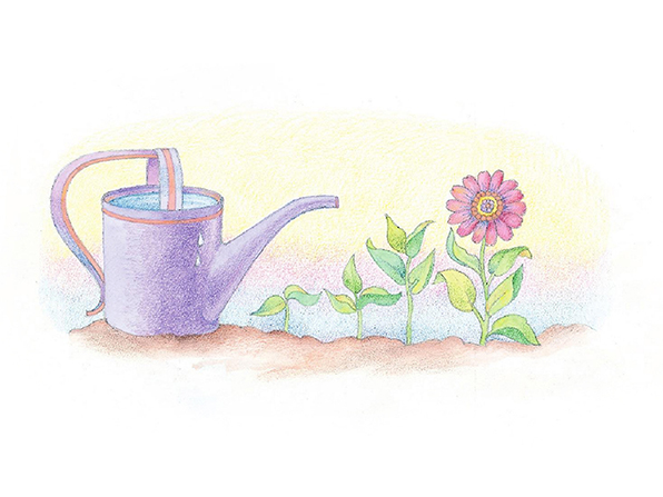 A watercolor illustration of a purple watering can filled to the brim with water. Next to it is a row of sprouts, each more fully grown than the last.