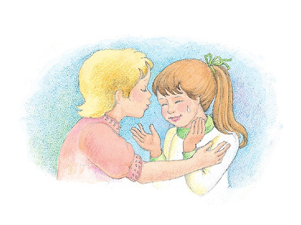 A watercolor illustration of a crying girl being comforted by a boy who is forgiving her for something she has done.