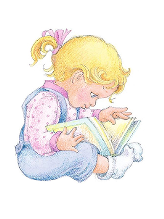 A watercolor illustration of a small girl with blond hair sitting and looking at a book.