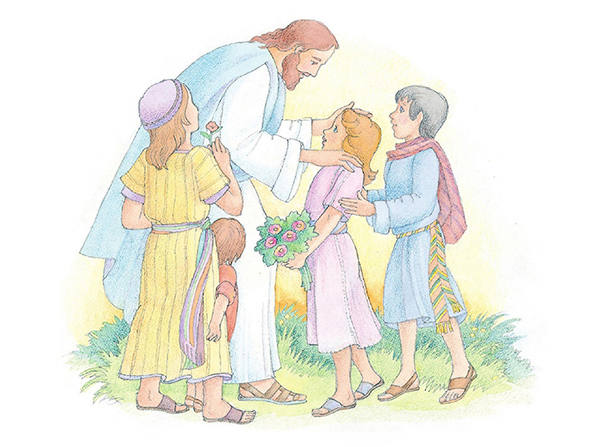 A watercolor illustration of Christ standing among four children, some of whom are holding flowers.