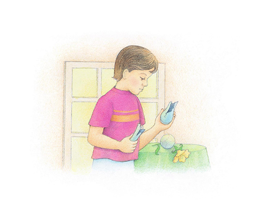A watercolor illustration of a boy holding a broken vase, which has been broken by a nearby baseball.