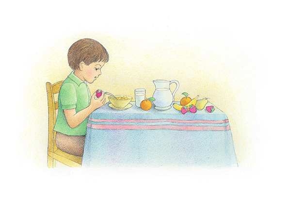 A watercolor illustration of a young boy holding a strawberry, looking at a bowl of cereal, and sitting at a table that is covered in breakfast food.