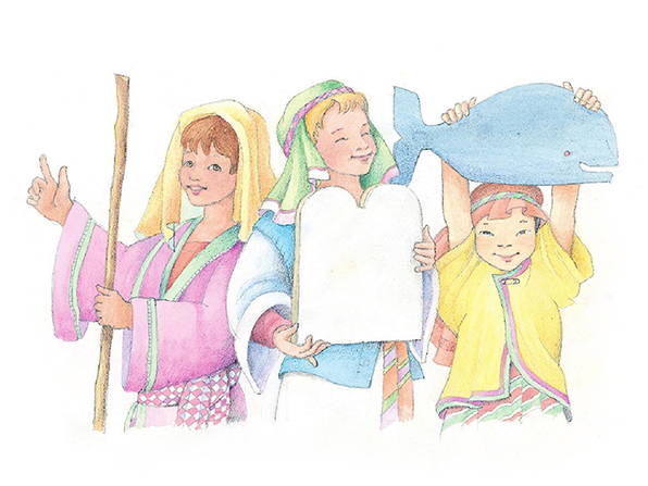 A watercolor illustration of three children dressed up as biblical prophets, including Jonah and Moses.