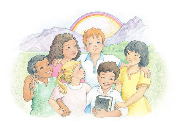 A watercolor illustration of six friends standing together and holding hands in front of a mountain range topped by a rainbow.