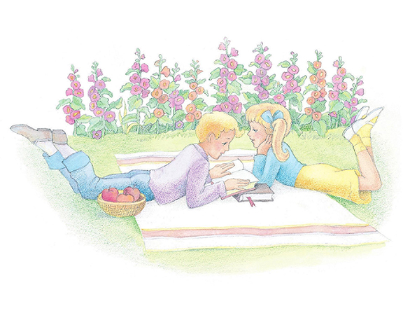 A watercolor illustration of a boy and girl on a blanket in a garden, reading from the scriptures.