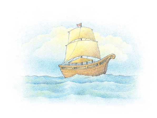 A watercolor illustration of Nephi's ship on the waters of the sea.